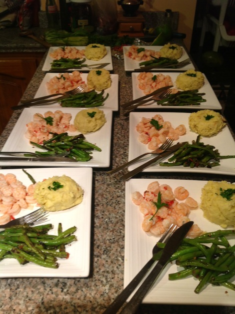 Garlic everything (shrimp, mashed potatoes, and green beans)